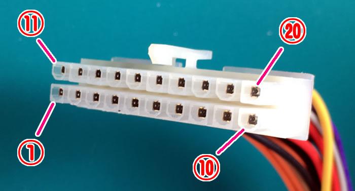 ATX電源のメインコネクタ(20Pin)のピン配列