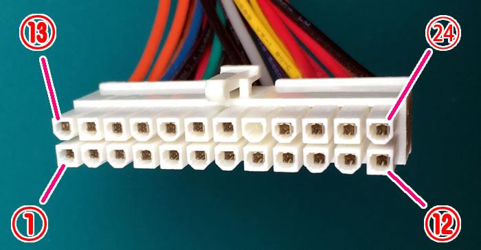 ATX電源のメインコネクタ(24Pin)のピン配列