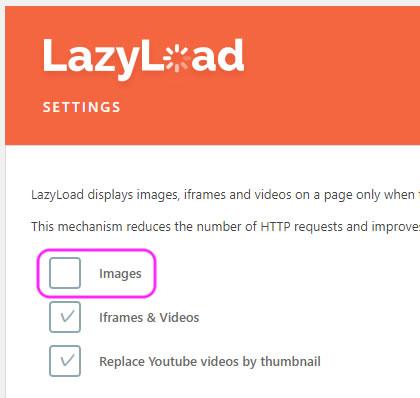 LazyLoad イメージチェックを外す