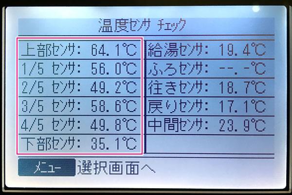 エコキュートのタンク内の温度