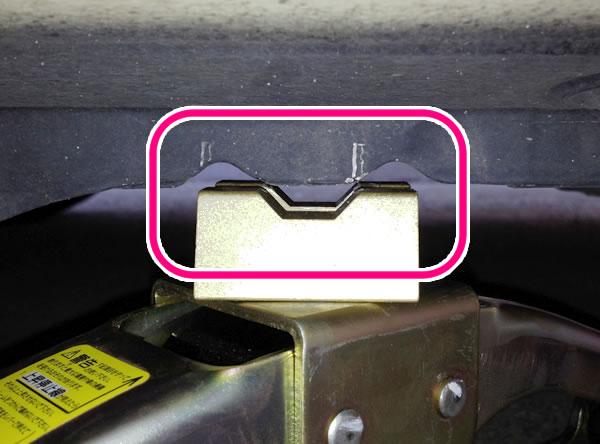乗用車のタイヤ交換手順 ジャッキをセットする位置